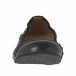 Ballerina chaussure pour femmes avec goujons en cuir noir talon 1 - Pointures disponibles:  33