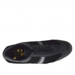 Chaussure sportif à lacets pour femmes en cuir, daim et cuir verni noir et cuir bronze a canon talon compensé 5 - Pointures disponibles:  42