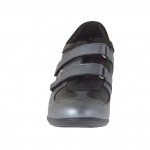 Woman's sports shoe in black and gunmetal leather with velcro bands and metal accessory wedge 5