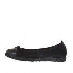 Woman's ballerina shoe in black suede and patent leather wedge 2