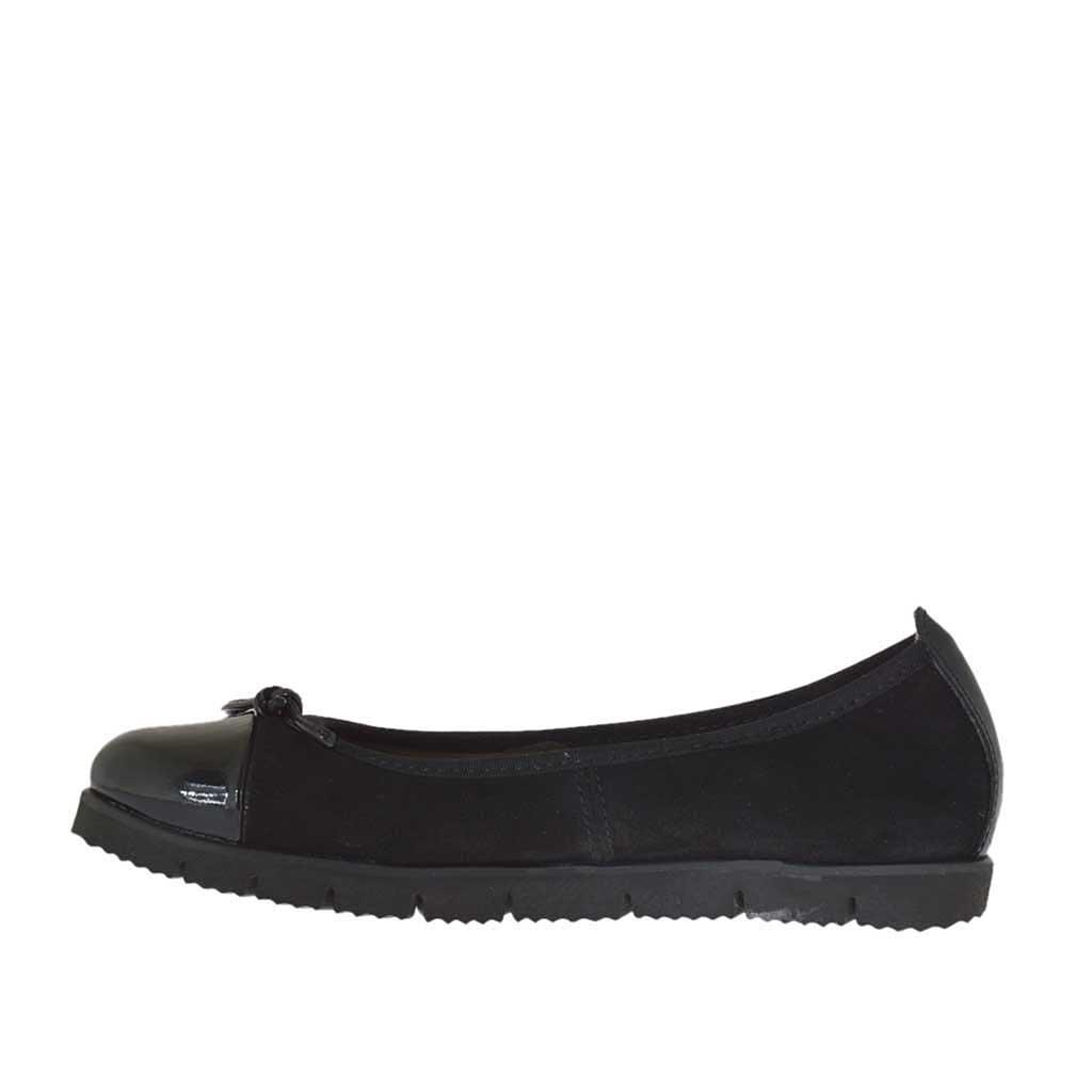 ballerina chaussure pour femmes en daim et cuir verni noir talon compens 2 ghigocalzature. Black Bedroom Furniture Sets. Home Design Ideas