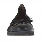 Ballerina avec noeud pour femmes en daim et cuir verni noir talon compensé 2 - Pointures disponibles:  32