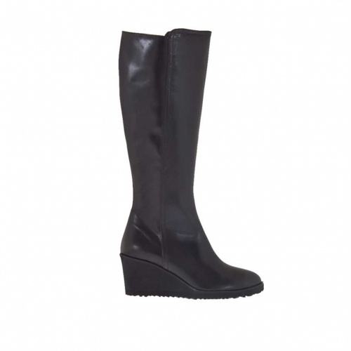Woman's boot in black leather with zipper wedge 6 - Available sizes:  42