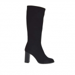 Woman's boot in black elastic fabric heel 9 - Available sizes:  42