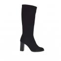 Woman's boot in black elastic fabric heel 9