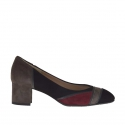Woman's pump in patchwork black, maroon, grey suede and grey leather heel 5