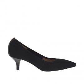 Decolté da donna in tessuto elasticizzato nero tacco 5 - Misure disponibili: 32