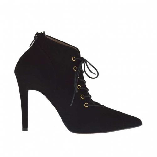 Woman's laced shoe with inner platform and zipper in black leather heel 10 - Available sizes:  42