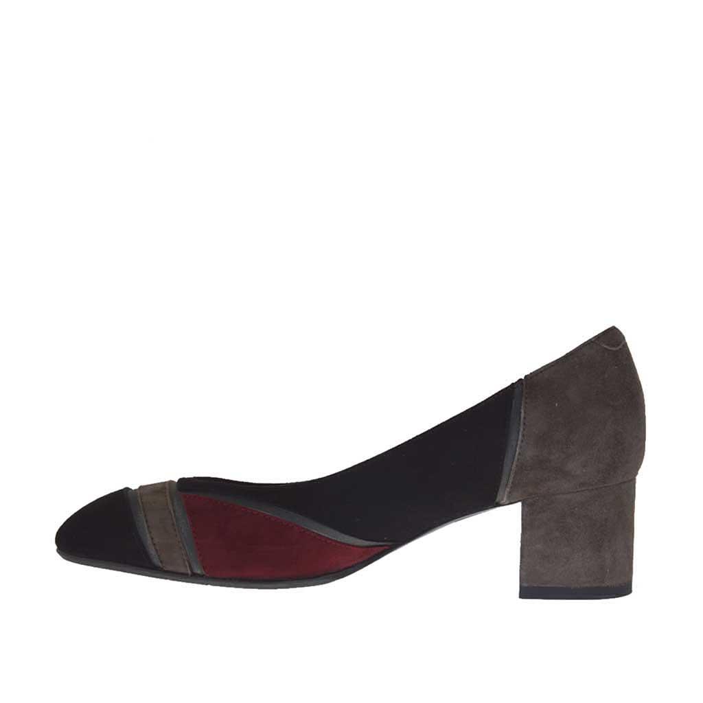 Zapato de salon en gamuza negra granate gris y piel gris for Salon patchwork