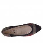Woman's pump in patchwork black, maroon, grey suede and grey leather heel 5 - Available sizes:  46
