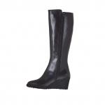 Bottes pour femmes en cuir noir avec fermeture éclair talon compensé 6 - Pointures disponibles:  42