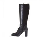 Woman's boot in black leather and suede with elastic band and zipper heel 9 - Available sizes:  42