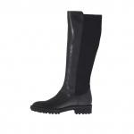 Bottes pour femmes en cuir et tissu élastique noir talon 3 - Pointures disponibles:  32