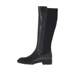 Woman's boot in black leather and elastic fabric heel 3 - Available sizes:  32