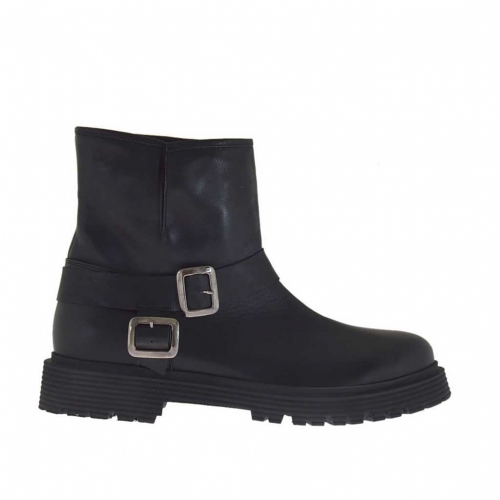 Woman's ankle boot with buckles in black leather heel 3 - Available sizes:  46