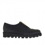 Woman's Oxford shoe with elastic band and zipper in black leather wedge heel 3 - Available sizes:  32, 33