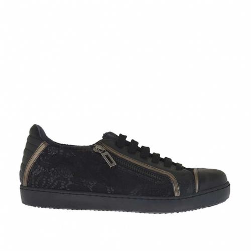 Chaussure sportif à lacets pour femmes avec fermeture éclair en cuir noir et bronce a canon et dentelle noir talon compensé 2 - Pointures disponibles:  32