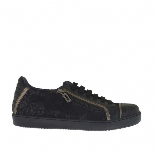 Woman's laced sports shoe with zipper in black and gunmetal leather and black lace wedge 2 - Available sizes:  32