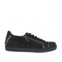 Chaussure sportif à lacets pour femmes avec fermeture éclair en cuir noir et bronce a canon et dentelle noir talon compensé 2