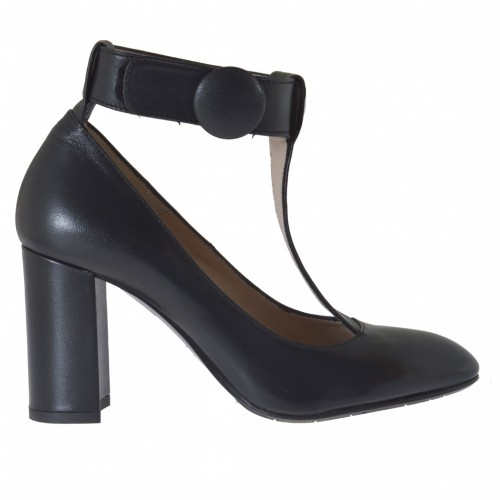 Woman's pump with t-strap and velcro in black leather heel 9  - Available sizes:  42