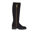 Woman's boot with outer golden zipper and inner half zipper in black suede heel 3 - Available sizes:  33, 34