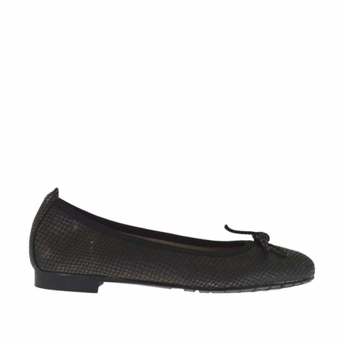 Woman's ballerina shoe with bow in printed gunmetal leather  - Available sizes:  33