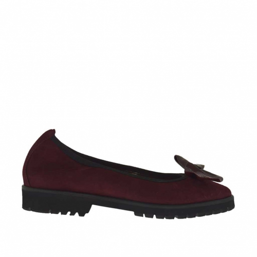 Woman's ballerina shoe in maroon suede with bow in maroon patent leather heel 2 - Available sizes:  33