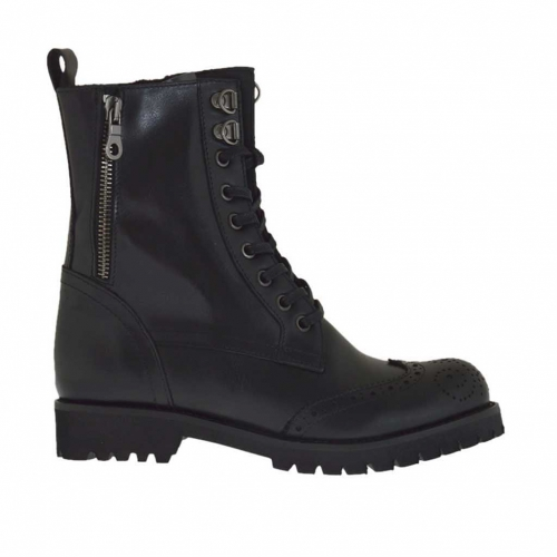 Woman's laced combat style ankle boot with zippers in black leather heel 3 - Available sizes:  32