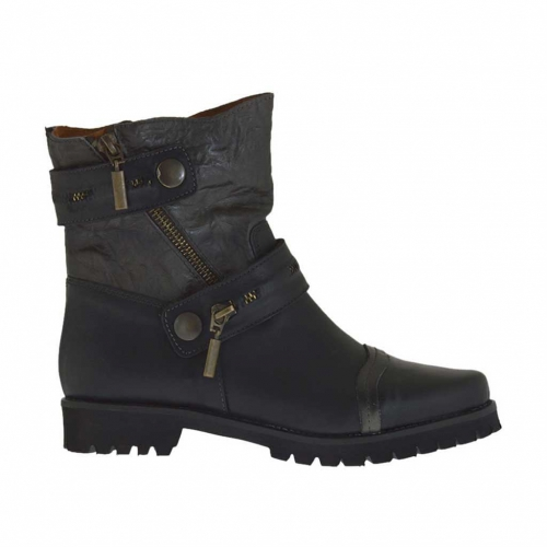 Woman's ankle boot with zippers and straps with buttons in black and grey  leather heel 3 - Available sizes:  32