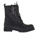 Woman's laced ankle boot combat style with buckles in black leather heel 3