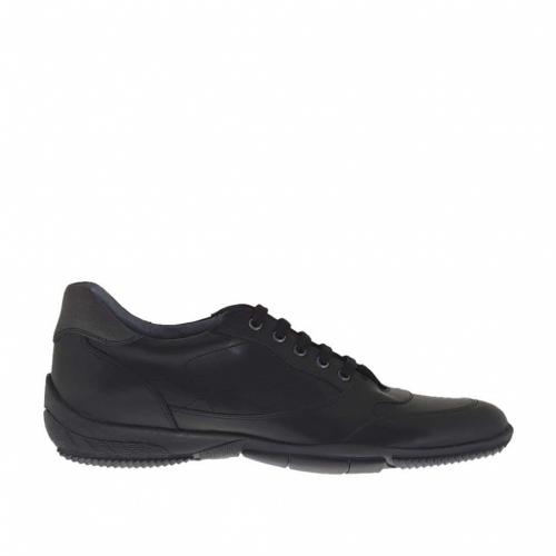 Sportif Lacets En Hommes Chaussure Noir Ghigocalzature Cuir Pour À 7EWqngqd