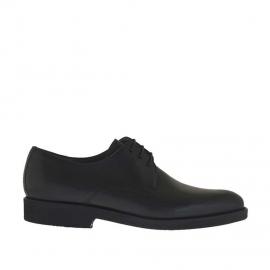 Eleganter Derbyherrenschuh mit Schnürsenkeln aus glattem schwarzem Leder - Verfügbare Größen:  36, 50, 51