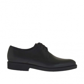 Eleganter Herrenschuh mit Schnürsenkeln aus glattem schwarzem Leder - Verfügbare Größen:  36, 50, 51