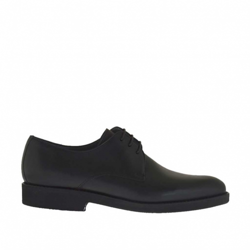 Men's laced elegant shoe in black smooth leather - Available sizes:  36, 47, 50, 51