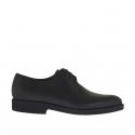 Chaussure derby élégante à lacets pour hommes en cuir noir lisse