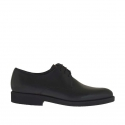 Men's laced elegant derby shoe in black smooth leather