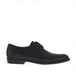 Men's elegant and laced shoe in black leather - Available sizes:  50