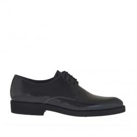Chaussure derby elégante à lacets pour hommes en cuir verni imprimé gris - Pointures disponibles:  37, 38, 46, 47, 49, 50, 51