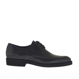 Men's elegant laced derby shoe in grey printed patent leather - Available sizes:  37, 38, 46, 47, 49, 50, 51