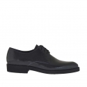 Elegant laced men's shoes in grey printed patent leather
