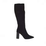 Woman's boot in black fabric and suede with zipper heel 9 - Available sizes:  32, 34, 42