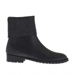 Woman's ankle boot in grey elastic fabric and black leather heel 2 - Available sizes:  32, 33