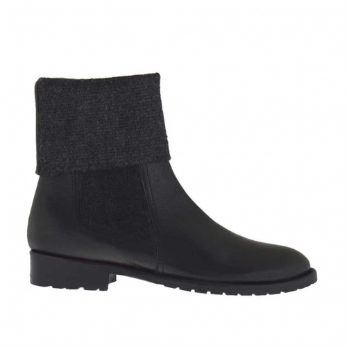Woman's ankle boot in grey elastic fabric and black leather heel 2 - Available sizes:  32