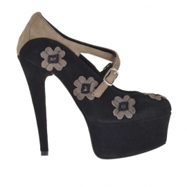 Decolté da donna con fiori, cinturini incrociati e plateau in camoscio nero e taupe tacco 15 - Misure disponibili: 42