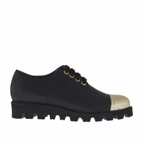 Chaussure à lacets pour femmes en cuir noir avec embout en cuir verni d'or talon compensé 3 - Pointures disponibles:  32, 33, 34, 46
