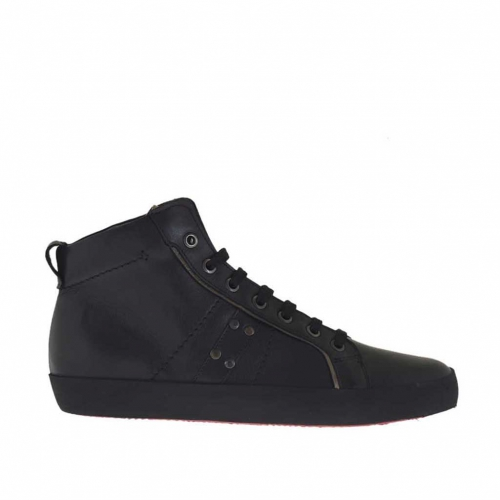 Men's sports ankle-high shoe with laces in black leather - Available sizes:  36, 37, 46
