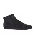 Zapato deportivo alto al tobillo con cordones para hombres en piel negra