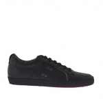 Laced sports shoe for men in black leather  - Available sizes:  36, 37, 38, 47