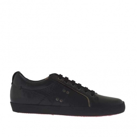 Laced sports shoe for men in black leather  - Available sizes:  36, 37, 47