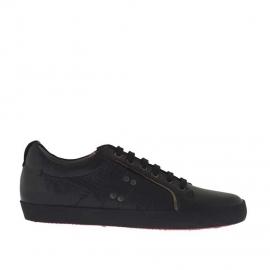 Zapato deportivo con cordones para hombres en piel negra - Tallas disponibles:  36, 37, 38, 51